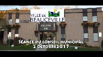 Séance du conseil municipal de Beauceville du 2 octobre 2017